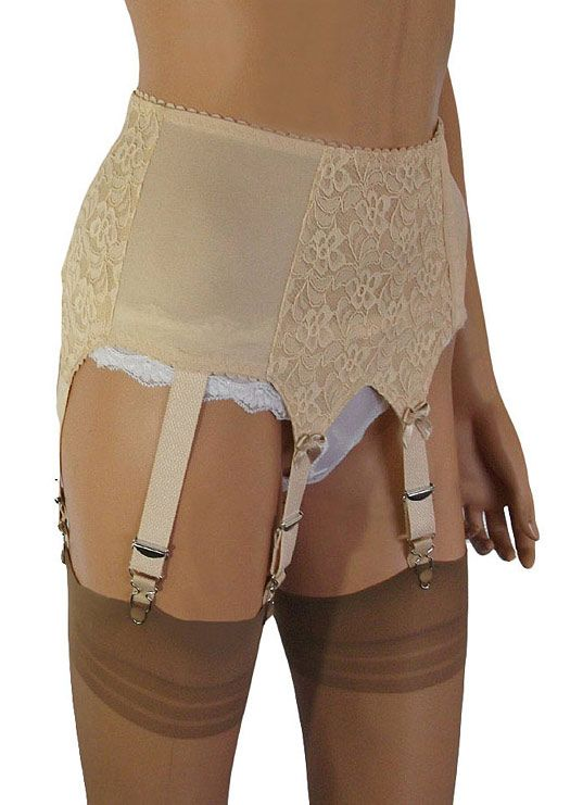 450223adb Side Opening 6 Strap Suspender Belt with Lace to Front   Sides